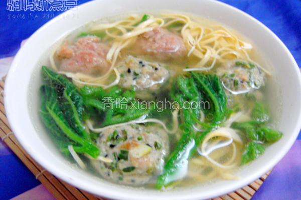 南瓜苗肉丸汤